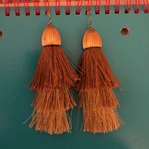 cute tan tassel earrings